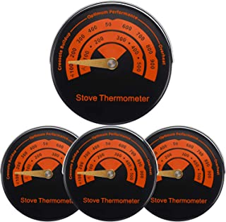 4 Packs Magnetic Stove Thermometer Wood Burner Top Thermometer Stove Temperature Meter Stove Flue Pipe Thermometer Fireplace Accessories for Avoiding Stove Fan Damaged by Overheating