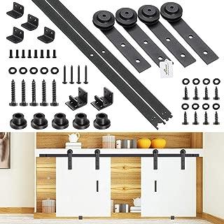 Yescom 4 Ft Mini Double Cabinet Sliding Barn Wood Door Hardware Roller Track Rail Kit TV Stand Wardrobe Closet Kitchen