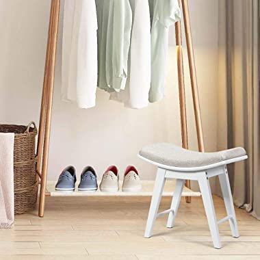 CHARMAID Vanity Stool, Makeup Dressing Stool with Concave Seat Surface, Padded Cushioned Bench with Rubberwood Legs, Modern P