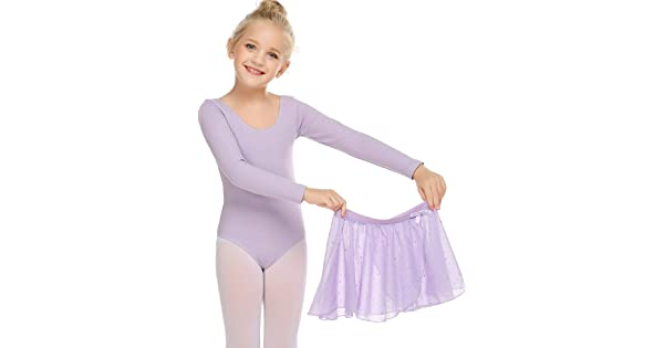 Zaclotre Girls Two-Piece Long Sleeve Ballet Dance Dress Glitter Tutu Skirted Leotard
