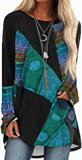 Vintage Pullover Tunic for Women, Ladies Casual Blouse T-shirt Long Sleeve Retro Style Tunic Tops Tee Shirts Tee (Color : ...