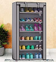 Aysis Multipurpose Portable Folding Iron and Nonwoven Fabric Shoes Rack 6 Tiers Storage Organizer with Zippered Dustproof Cover (Grey)