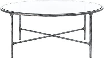 SAFAVIEH Couture Home Collection Jessa Silver Metal/Tempered Glass Top Round Coffee Table (Fully Assembled) SFV9501B