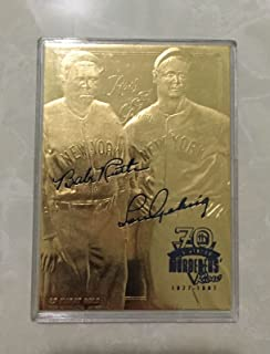 Babe Ruth & Lou Gehrig 70TH Anniversary Sculpted Signature 23KT Gold Card!