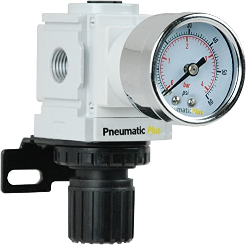 "PneumaticPlus PPR2-N02BG-4 Miniature Air Pressure Regulator 1/4"" NPT - Gauge, Bracket, Low Pressure (3-60 PSI)"