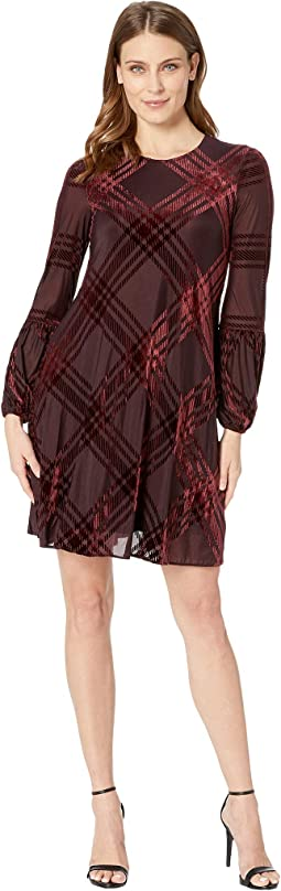 Plaid Burnout Shift Dress