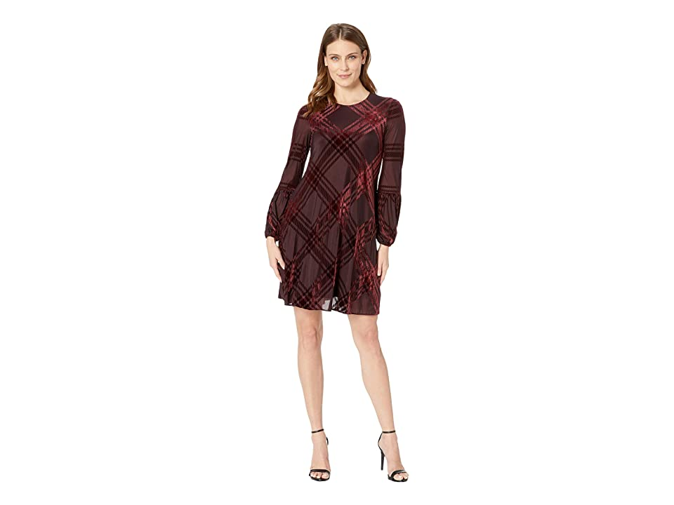 Taylor Plaid Burnout Shift Dress (Burgundy) Women