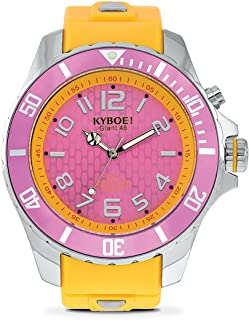 KYBOE! Power Stainless Steel Quartz Watch with Silicone Strap, Yellow, 22 (Model: KY.48-024.15