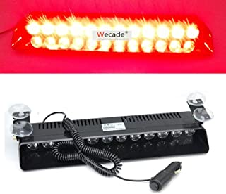 Wecade 12w 12 Leds Car Truck Emergency Strobe Flash Light Windshield Warning Light (Red)
