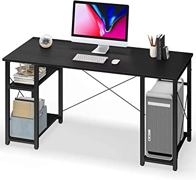 """Computer Desk with Shelves,55"""" Modern Sturdy Writing Desk for Home Office,Office Desk with 3 Storage Shelves,Black"""