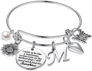 IEFSHINY Sunflower Charm Bracelets for Women Girls, Stainless Steel Expandable Bangle Bracelets Engraved Letter Sunflower ...