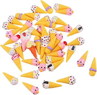 Monrocco 50Pcs Ice Cream Slime Charms, Dessert Resin Flatback Slime Bead Ice Cream Cone Cabochons for Craft Making