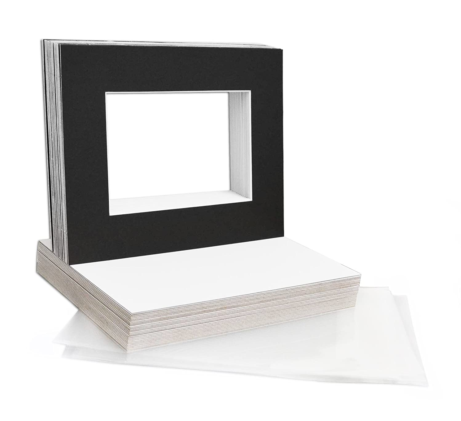 Mat Board Center, 8x10 Picture Mat Sets for 5x7 Photo. Includes a Pack of 50 White Core Bevel Pre-Cut White Core Matte & 50 Backing Board & 50 Clear Bags (Black)