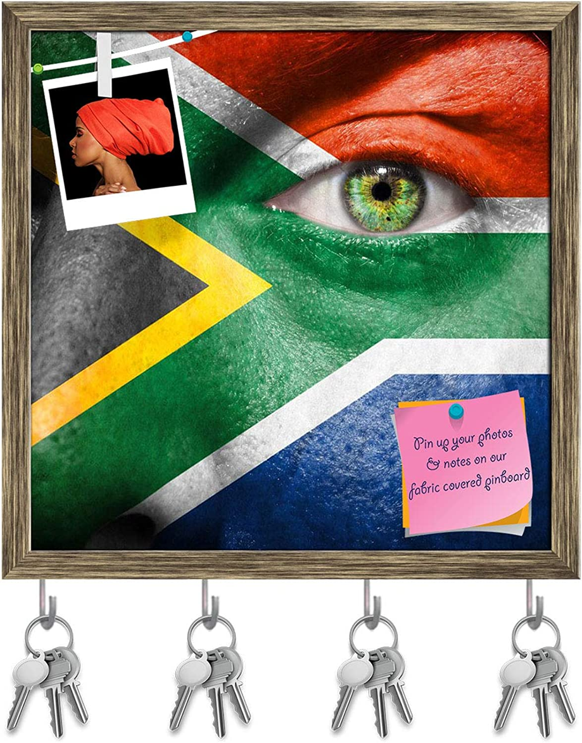 Artzfolio South African Flag Painted On A Face Key Holder Hooks   Notice Pin Board   Antique golden Frame 20 X 20Inch
