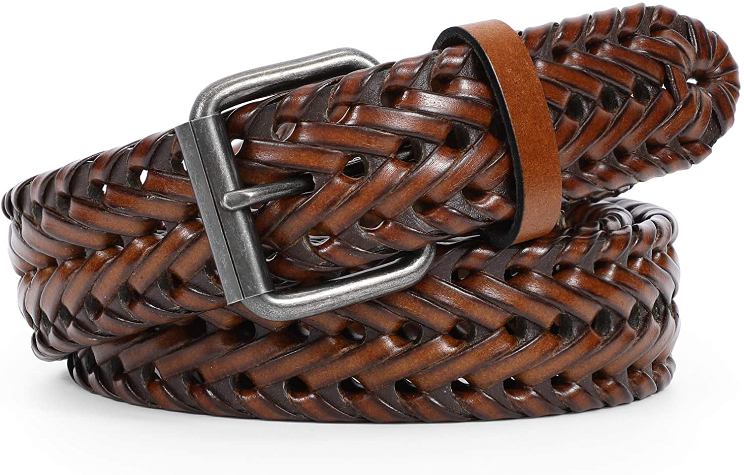 Men's Leather Braided Belt Woven WERFORU Cowhide Courier shipping free shipping Selling and selling B