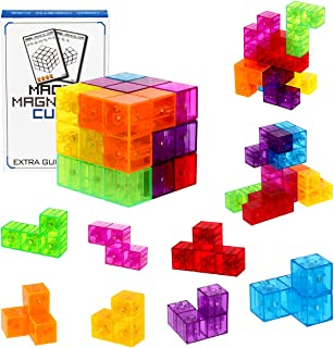 DASDAX Magnetic Building Blocks Magic Magnetic 3D Puzzle Cubes, Set of 7 Multi Shapes Magnetic Blocks with 54 Guide Cards,...