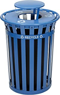 Global Industrial 36 Gallon Outdoor Steel Recycling Receptacle with Rain Bonnet Lid, Blue