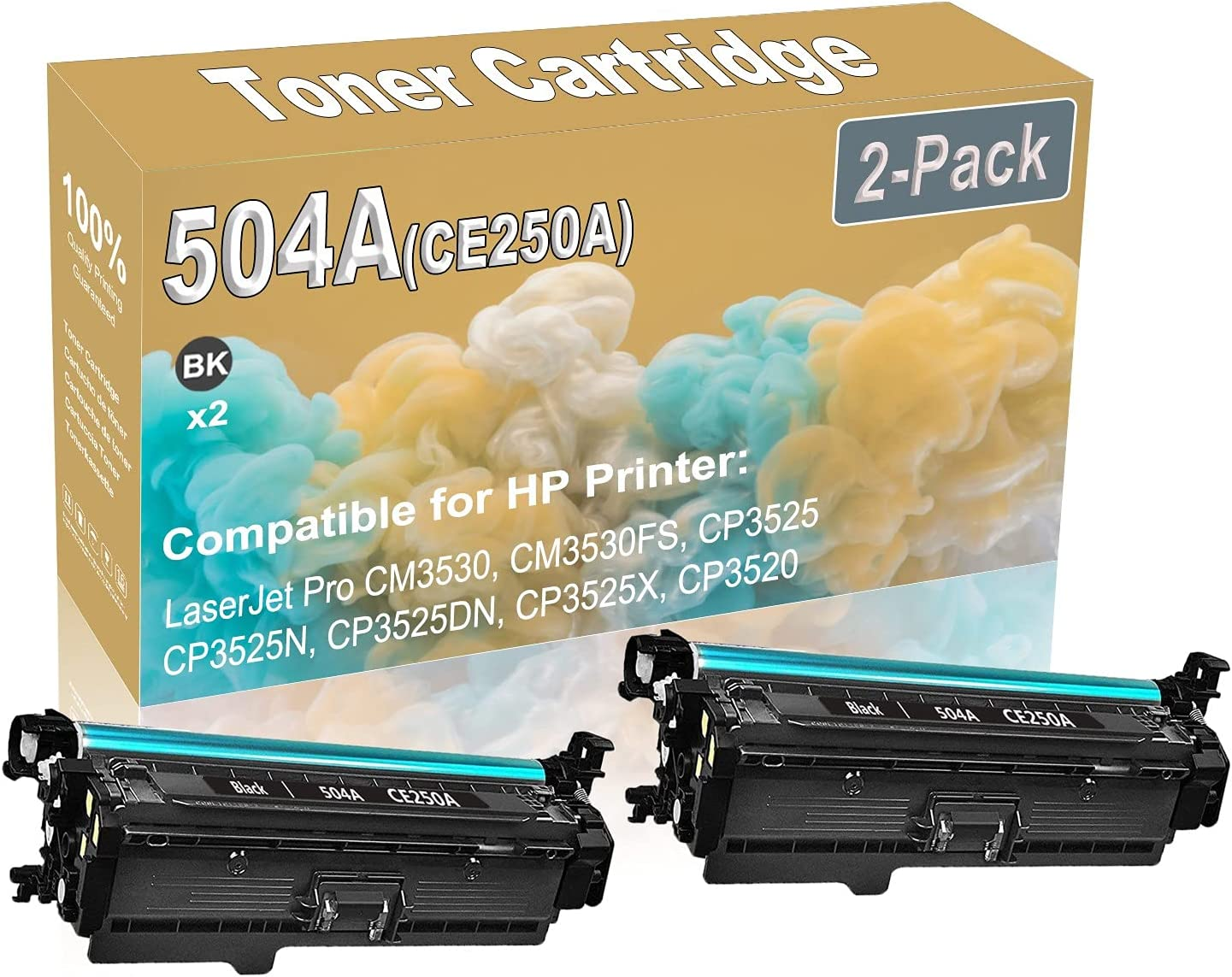 2-Pack (Black) Compatible High Yield 504A (CE250A) Printer Toner Cartridge use for HP CM3530 CM3530FS Printers