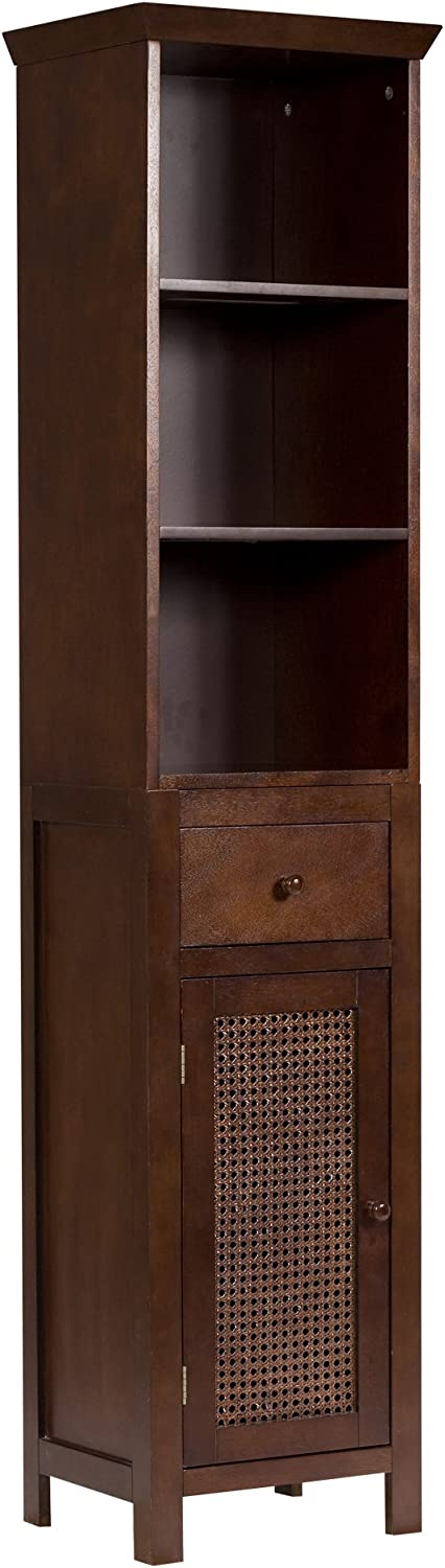 Elegant Home Fashions Shelved Linen Tower with Drawer and Cane-Paneled Cupboard, Espresso