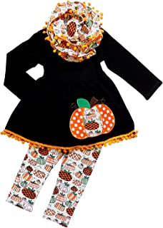 Toddler Girls 3 Pc Halloween Fall Tunic Top Leggings Outfit, Infinity Scarf