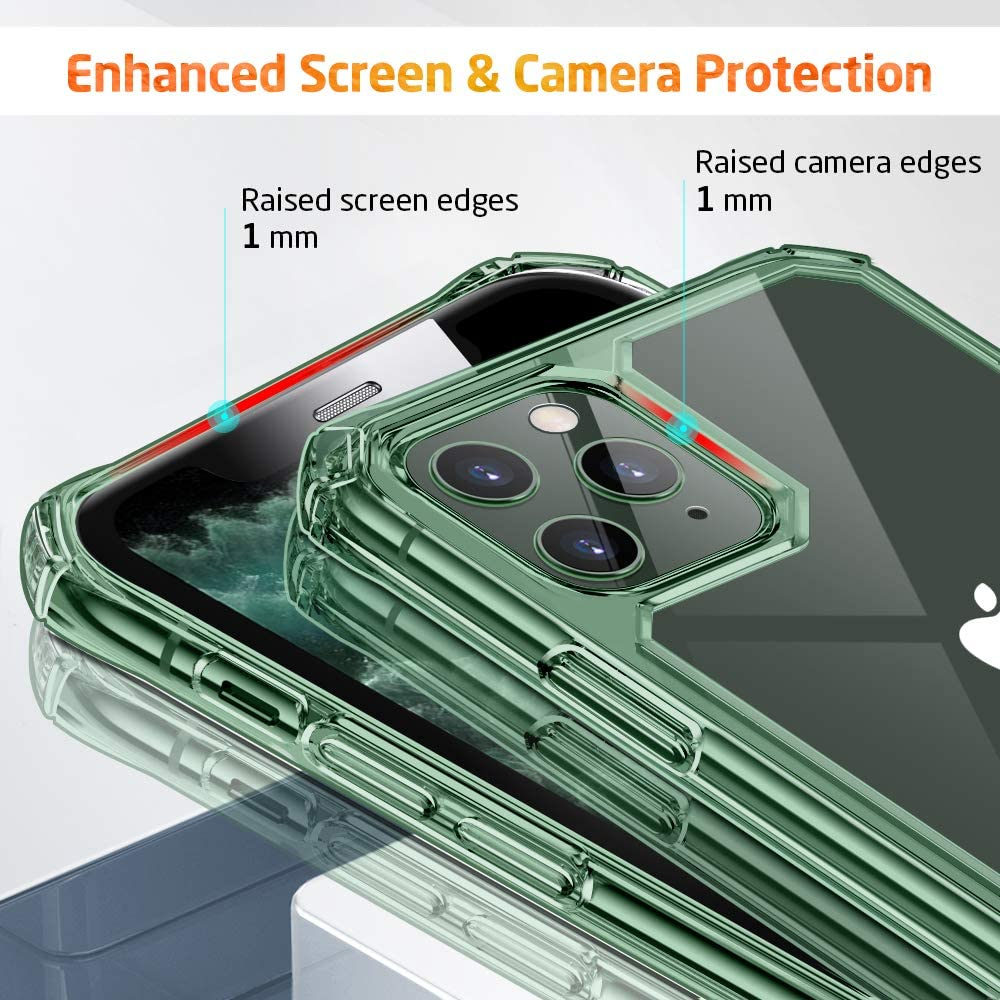 """ESR Air Armor Designed for iPhone 11 Pro Case [Shock-Absorbing] [Scratch-Resistant] [Military Grade Protection] Hard PC + Flexible TPU Frame, for The iPhone 5.8""""(2019), Transparent Dark Green"""