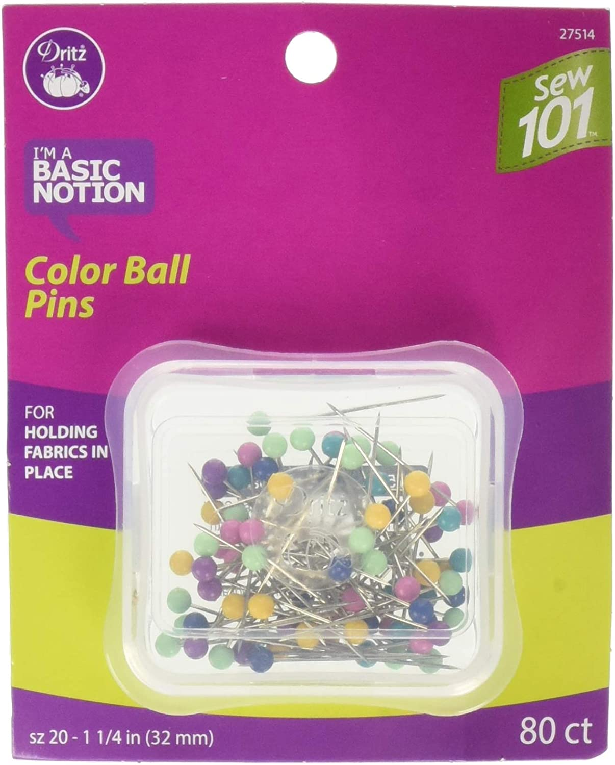 Dritz Color Ball Pins Assorted 80 We OFFer New product!! at cheap prices