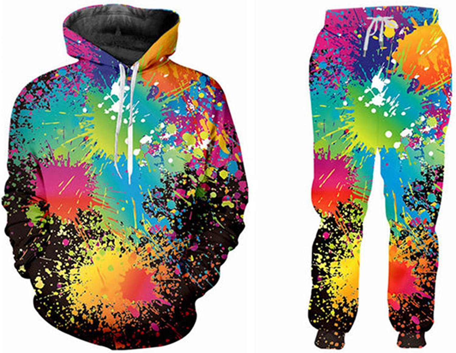 Cool 3D Free shipping anywhere in the nation Rainbow Paint All Over and Print Tracksuit Ranking TOP11 Hoodie Pants
