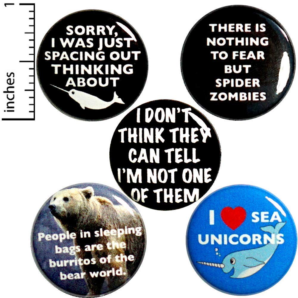 Funny Buttons Random Humor 1 year warranty Sarcastic Branded goods for Backpacks or Jacke Pins