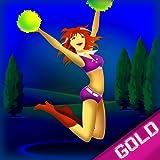 Mega sexy Cheerleader-Trampolin zu springen: der Hochschulgelände Turnhalle Abenteuer - Gold...