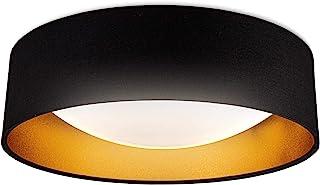 B.K.Licht I Luz de techo de tela LED I oro negro I 18W placa de LED I 2.200lm I 4.000K color de luz blanca neutral I lámpa...