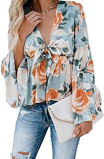女性ブラウスエレガント花プリント結び目深いVネックフレアスリーブ裾シャツ