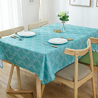 Lamberia Tablecloth Waterproof Spillproof Polyester Fabric Table Cover for Kitchen Dinning Tabletop Decoration (Acid Blue, 60