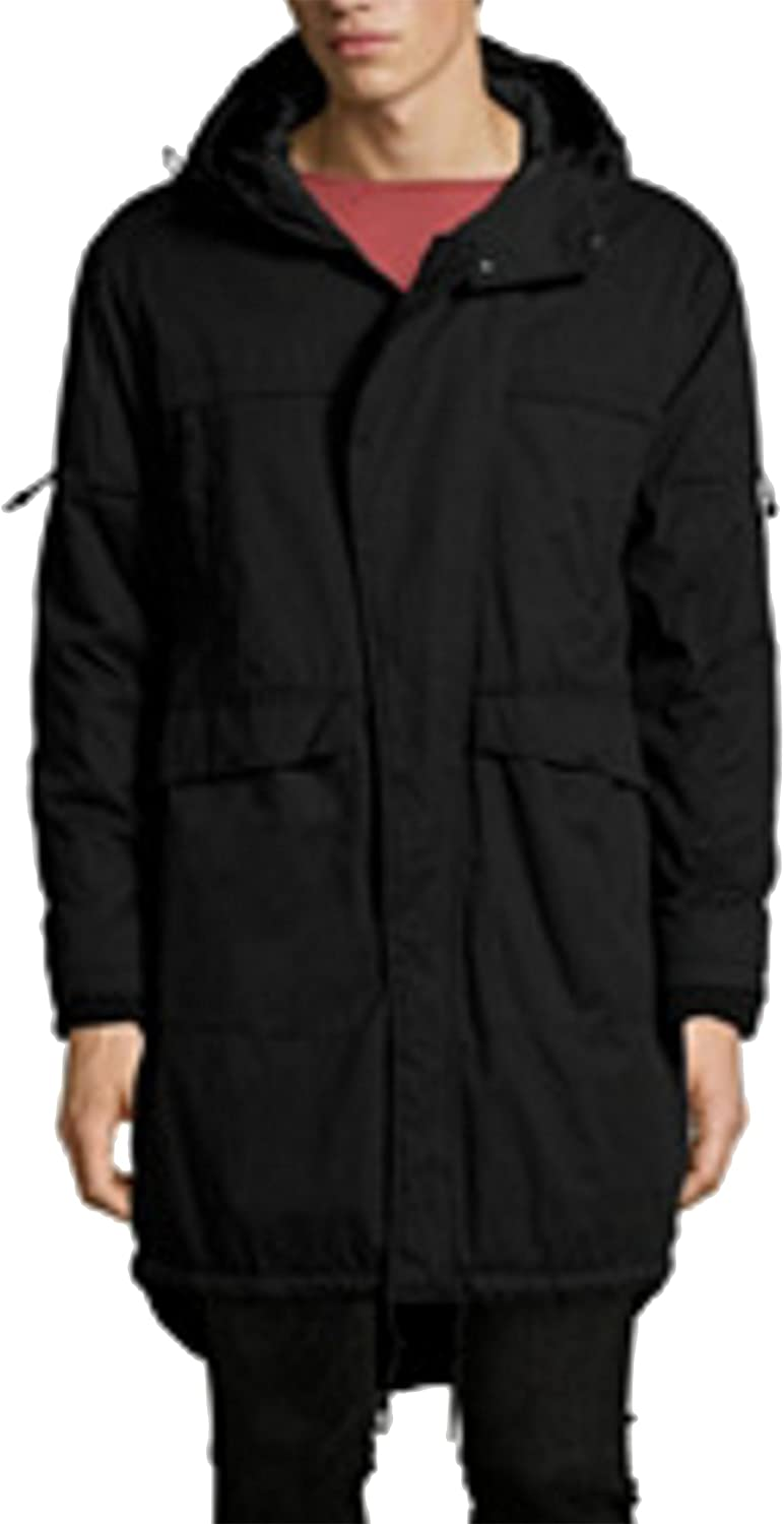 Bershka Men's Parka Jacket with Adjustable Hood Removable Fa