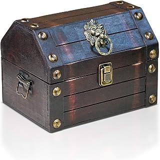 comprar comparacion Brynnberg Caja de Madera Lionshead S 22x16x16cm - Cofre del Tesoro Pirata de Estilo Vintage - Hecha a Mano - Diseño Retro ...