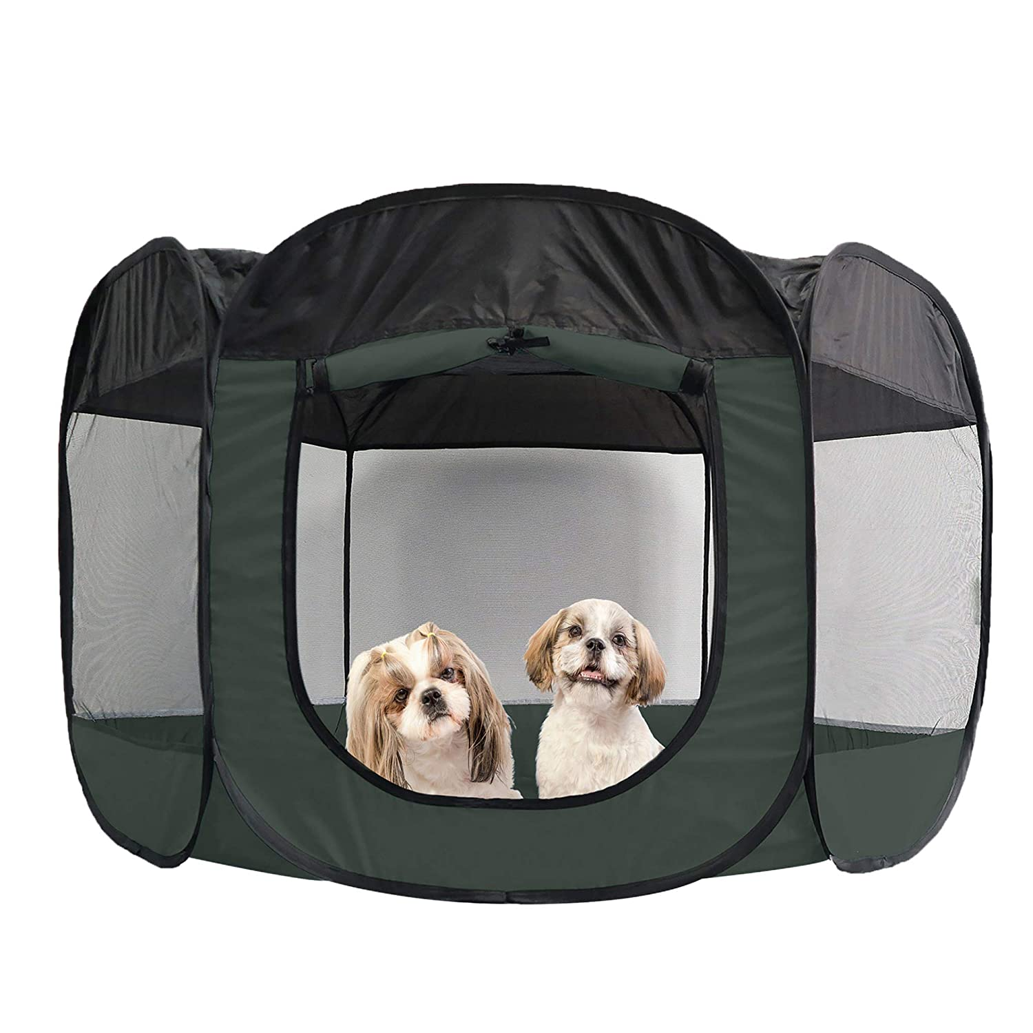 Furhaven Pet Playpen - Indoor-Outdoor Mesh Open-Air Playpen and Exercise Pen Tent House Playground for Dogs and Cats, Hunter Green, Extra Large: Pet Supplies