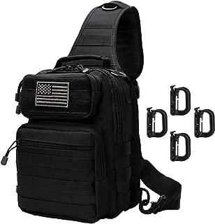 Tactical Sling Bag Backpack Shoulder Chest Bag Outdoor Travel Hiking for Men (Black with D-Ring Clips)