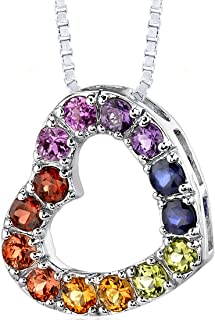 Rainbow Color Heart Pendant Necklace Sterling Silver Rhodium Nickel Finish 2.00 Carats
