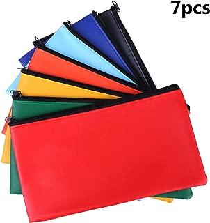 7 Colors Bank Deposit Money Bag Leatherette Securit Vinyl Zipper Pouches Wallet Utility Zipper Coin Bags for Cash Money, 11x6in