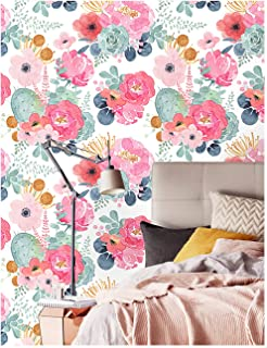 HaokHome 93005-2 Peel and Stick Watercolor Floral Wallpaper White/Pink/Green/Navy Blue/Orange Vinyl Self Adhesive Prepasted Contact Paper Decorative 17.7