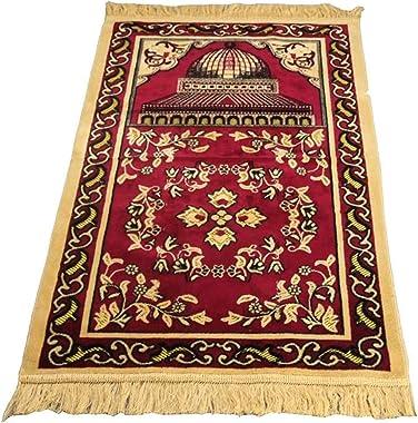 Islamic Prayer Rug, Muslim Carpet-Rectangular Worship Pilgrimage Blanket-Vintage Carpet-Islamic Travel Prayer Rug Made of Cas