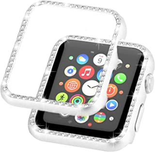 Ayigo Compatible with Apple Watch Case 38mm 42mm, Metal Bumper Protective Cover Women Diamond Crystal Rhinestone Shiny Compatible iWatch Series 3/2/1 (Silver, 40mm)