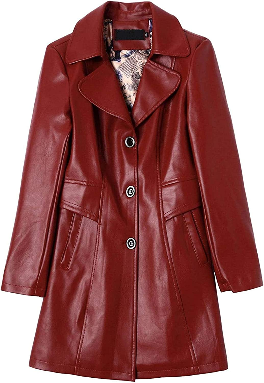 Women's Single Brested Slim Faux Leather Jacket Trench Coat