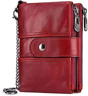 Mens Leather Bag RFID Anti-Theft Brush Wallet Leather Multi-Function Buckle Zipper Retro Crazy Horse Leather Men's Bag Casual Purse Bag (Color : Red, Size : S)