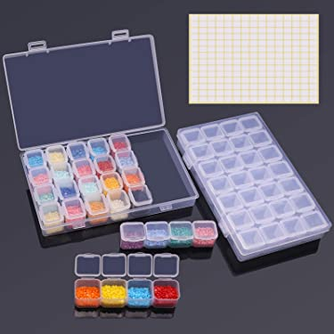 ARTDOT 28 Girds 2 Pack Diamond Painting Storage Containers Portable Bead Storage Container for Diamond Painting Accessories
