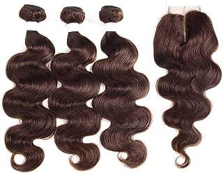 Medium Brown 4# Human Hair Bundles With Closure 44 KEMY HAIR Brazilian Body Wave Human Hair Weaves 3PCS Non Remy Hair,10 10 10+10Closure,#4,Middle Part