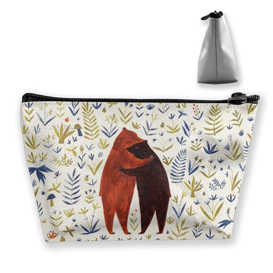 どんよりした証明表面的なクマのカップル 化粧ポーチ メイクポーチ ミニ 財布 機能的 大容量 ポータブル 収納 小物入れ 普段使い 出張 旅行 ビーチサイド旅行