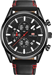 MINI FOCUS Stylish Chronograph Dial Leather Band Sports Mens Wrist Watches