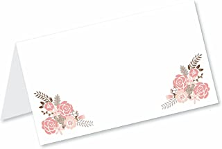 Boho Floral Blank Tented Table Place Cards (50 Count) - Fold Over Tent Style - Wedding, Bridal Shower, Dinner Party Banquet Event Place Seating Cards