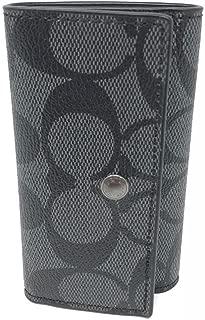 Coach F26104 4 Ring Key Case Holder Charcoal/Black Signature PVC/Leather