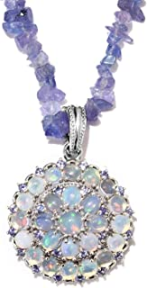 925 Sterling Silver Welo Opal Tanzanite Pendant Necklace 20